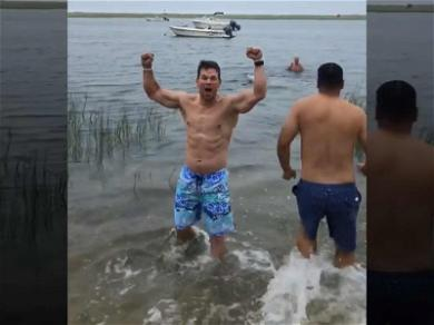 Mark Wahlberg Goes Into Beast Mode as He Leads the Way Into Freezing Cold Water