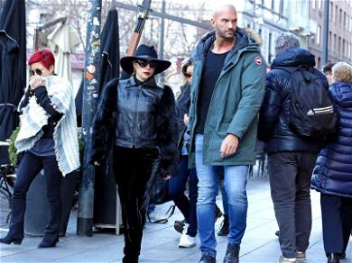Little Lady, Giant Guard! Lady Gaga Brings Extra Large Security Guard to Lunch
