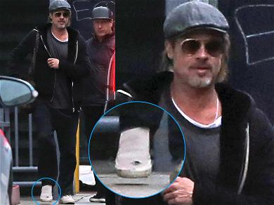 Brad Pitt Spotted With Holey Shoe After Attending Jen Aniston's Birthday