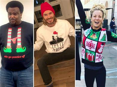Tis' The Season For Miley Cyrus, David Beckahm & Other Celebrities in Ugly Sweaters!