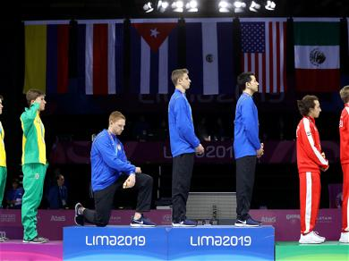 U.S. Fencer Kneels During Medal Ceremony In Protest Of 'A President Who Spreads Hate'