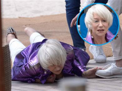Helen Mirren Goes Down! Actress Bounces Back After Eating It Hard