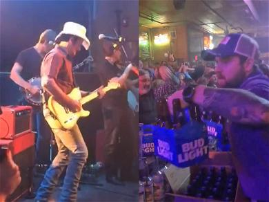 Brad Paisley Buys a Round of Beers for Nashville Bar During Filming of Music Video