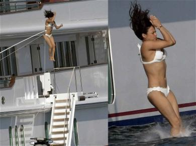 Michelle Rodriguez Hurls Her Body Off a Massive Yacht Into the Crystal Blue Sea