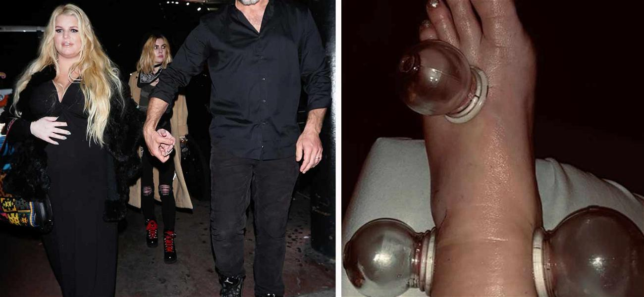 Jessica Simpson Straps Up For Date Night After Cupping Her Swollen Piggies