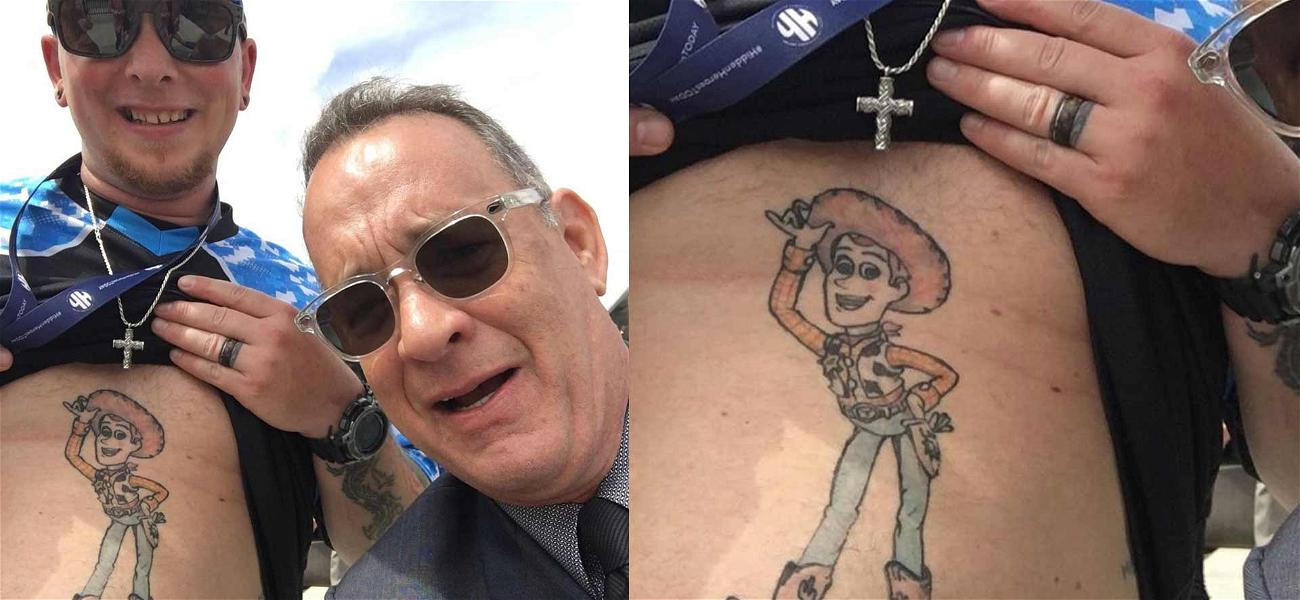 Tom Hanks Gives Stamp of Approval to Man With 'Toy Story' Stomach Tattoo