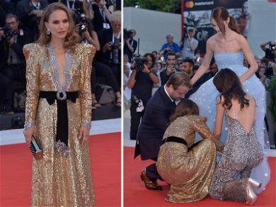 Natalie Portman Jumps Into Action to Fluff 'Vox Lux' Co-Star's Dress in Venice
