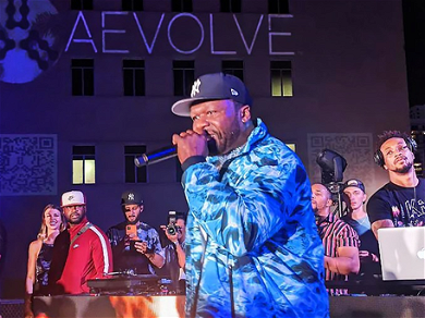 50 Cent Surprises Crowd at AEVOLVE Party During Miami Bitcoin Conference