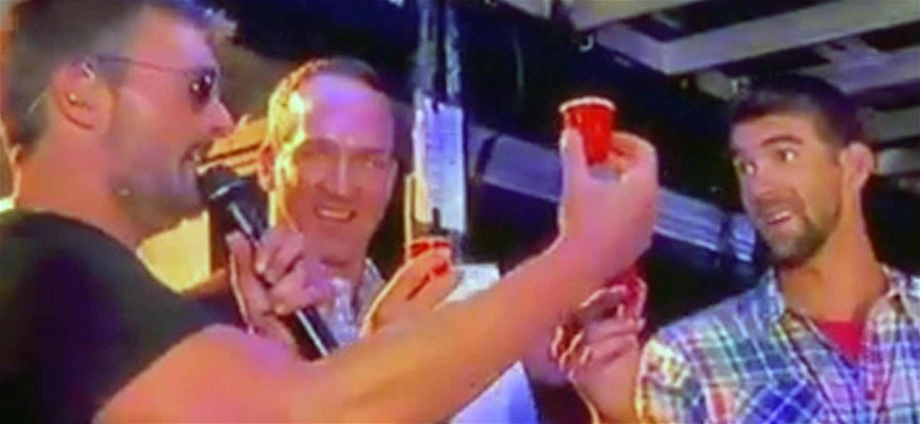 Michael Phelps and Peyton Manning Take Whiskey Shots Backstage With Country Star Eric Church