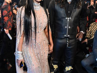 Yes, Cardi B Was At the Grammys and She was Wearing A Sheer Nude Gown Covered in Jewels