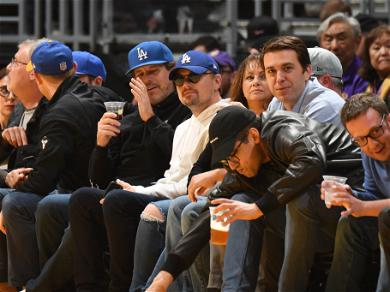 Celebs Attend the Lakers vs 76ers Game