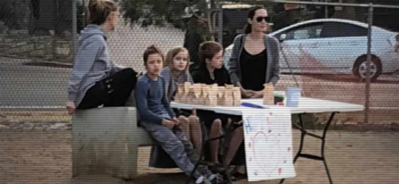 Angelina Jolie and the Kids Spotted Selling Dog Treats