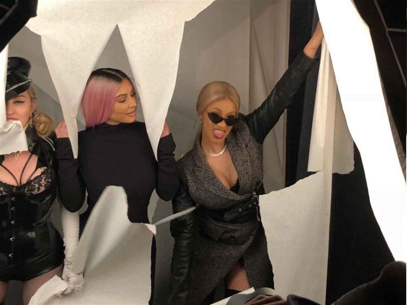 Madonna poses with Kim Kardashian and Cardi B