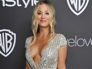 Kaley Cuoco Works Out In A Nightshirt With A Glass Of Wine