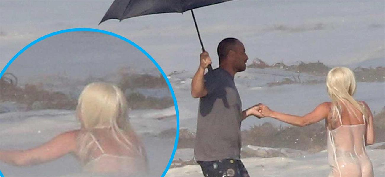Lady Gaga Down! Man With Random Umbrella to the Rescue!