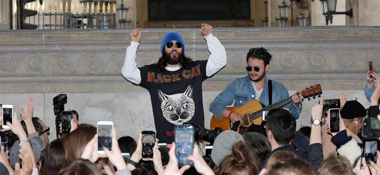 Jared Leto and Band Surprise Paris Fans With Mini-Concert at The Louvre