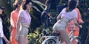 Kendall Jenner Fights To Keep Her Short Shorts Down During Miami Photoshoot