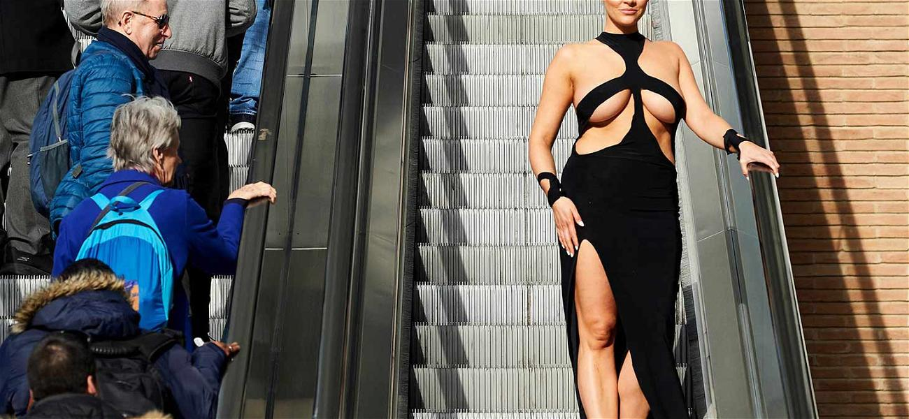 British Lady Takes to the Streets in Kim Kardashian's Infamous Booby Dress