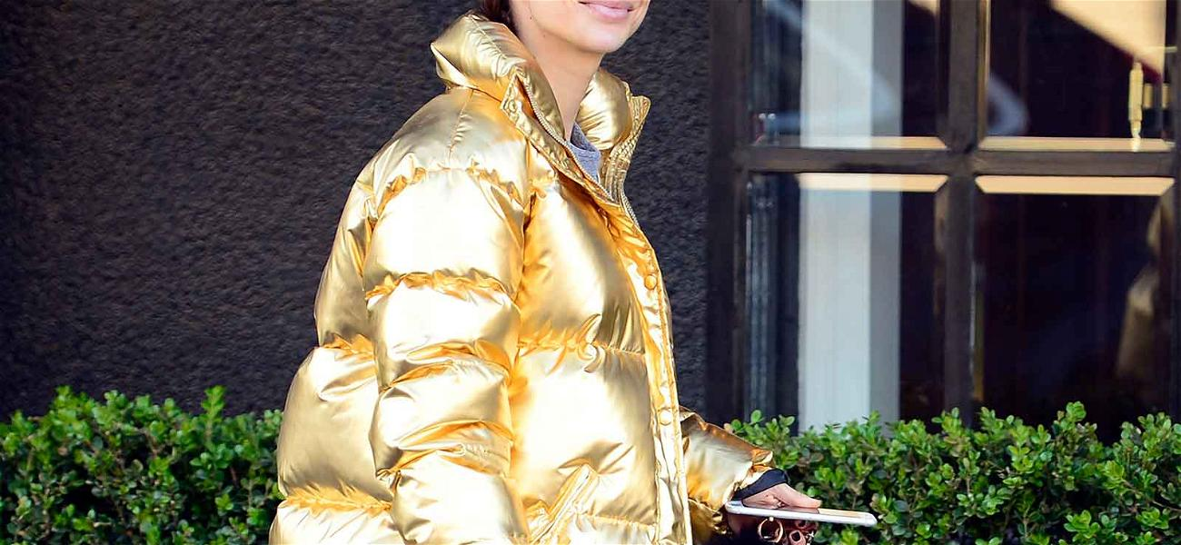 Fashionista Cara Santana Braves The L.A. Cold in Flashy Jacket