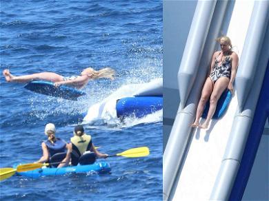 Lindsey Vonn Rockets Down Inflatable Slide During Wet 'n Wild Italian Getaway