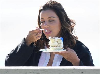 Eva Longoria Dives Into Scrumptious Cake on Set