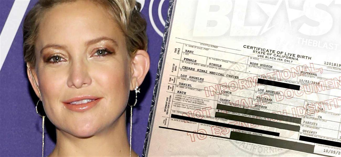 Kate Hudson Daughter's Birth Certificate Reveals Two Middle Names