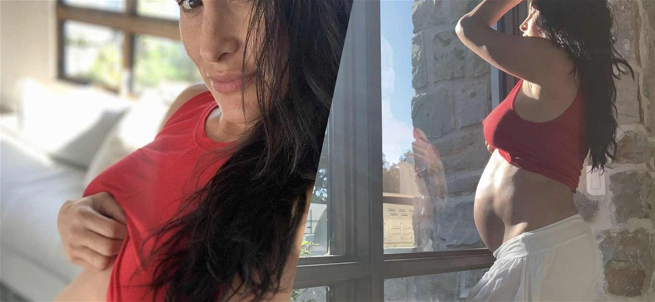Pregnant Nikki Bella Shows Off Huge Baby Bump As Belly Button Pops Out