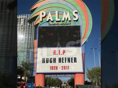 Vegas Palms Resort Lights Up Tribute to Hugh Hefner