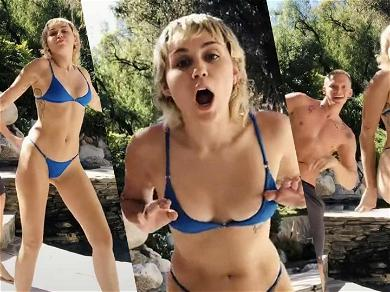 Miley Cyrus Puts In WERK In Tiny Blue Bikini For Epic TikTok Dance With Cody Simpson