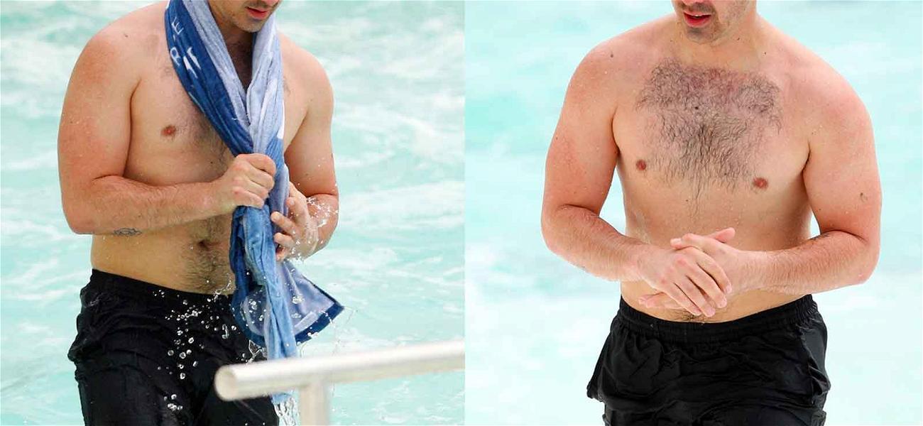 Joe Jonas Takes a Dip … By the Ocean