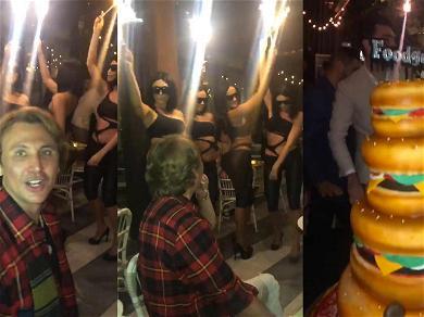Kim Kardashian Sends BFF Jonathan Cheban Big Booty Look-alikes For Birthday in Her Absence