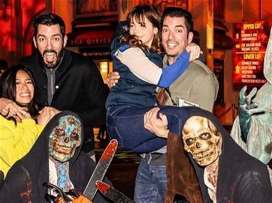 Zooey Deschanel Jumps Into 'Property Brothers' Boyfriend's Arms During Scary Date Night!