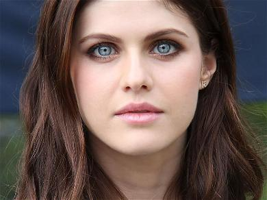Alexandra Daddario Hangs Upside-Down With Red Light Action For Flexible Cabin Yoga Session
