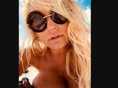 Jessica Simpson Topless & Sandy on Vacation With Husband