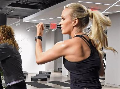 Carrie Underwood Wows Stretching In Tiny Pink Gym Shorts Using A Park Ladder