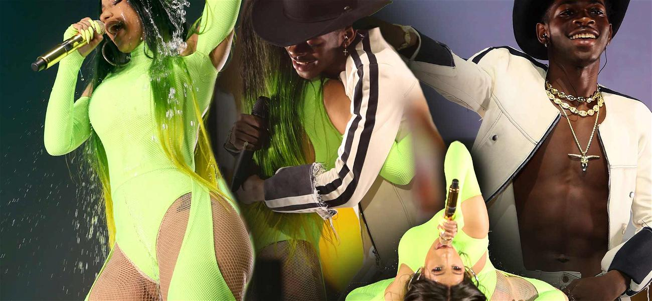 Cardi B Hoses Herself Off and Performs With Lil Nas X at Fashion Nova Launch