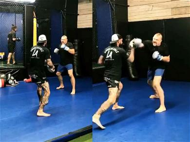 Chuck Liddell Showcases Powerful Punches During MMA Workout