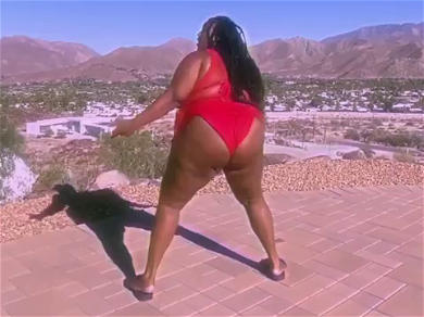 Lizzo Busts Out EPIC TWERK In Fire Red Bikini After Being Thrown Out Of Rental House!