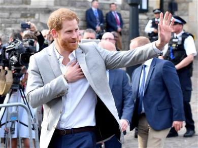 Prince Harry Leaves Windsor Castle For Last Time as Single Man, Glad-Hands With Crowd