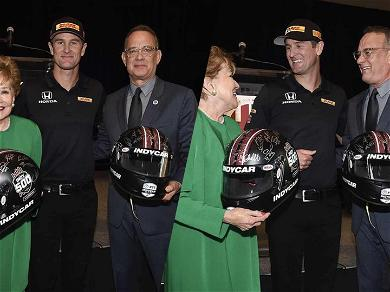 Tom Hanks Receives Signed Helmet From IndyCar Champ for Military Charity Work