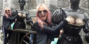 Emma Bunton Grabs a Handful of Luck from Molly Malone Before 'Spice World' Kicks Off
