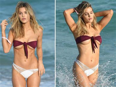Playmate Joy Corrigan is Both Naughty & Nice During Sexy Beach Shoot