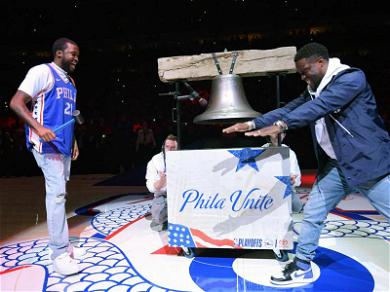 Meek Mill Rings the 76ers Bell After Prison Release