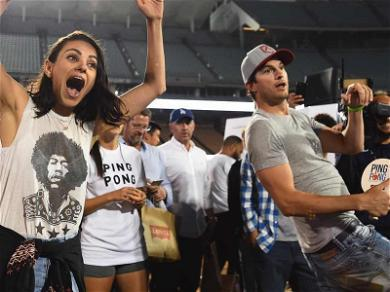 Ashton Kutcher & Mila Kunis Dominate Table Tennis During Clayton Kershaw's Charity Event