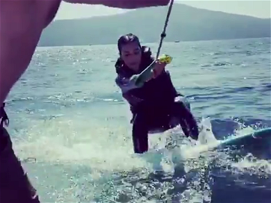 Kim Kardashian Masters Wake Surfing And Looks GREAT Doing It! — See The Awesome Video!