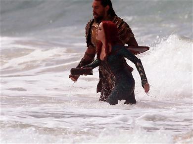Jason Momoa and Amber Heard On 'Aquaman' Set