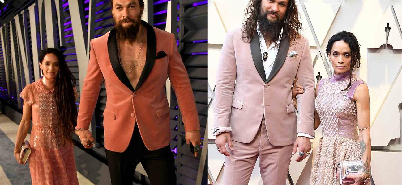 Jason Momoa Thinks Pink Twice During Academy Awards