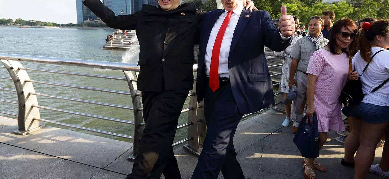 Donald Trump and Kim Jong Un Impersonators Rile Up Crowd in Singapore