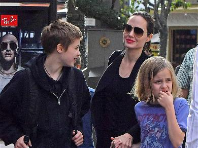 Angelina Jolie Flashes a Smile During Holiday Shopping Spree With the Kids