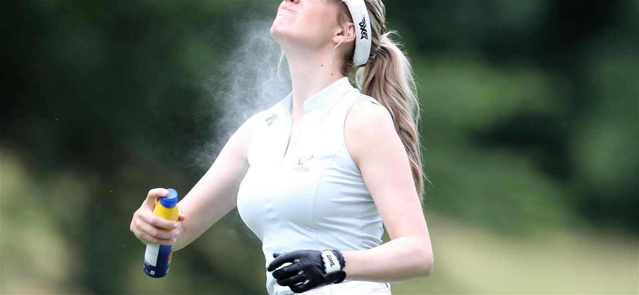 Hottie Golfer Paige Spiranac Spritzes Down Before Teeing Off with Rickie Fowler and Tiger Woods